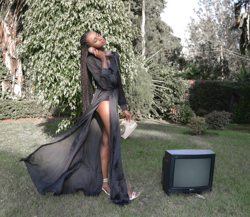 long black high slit dress