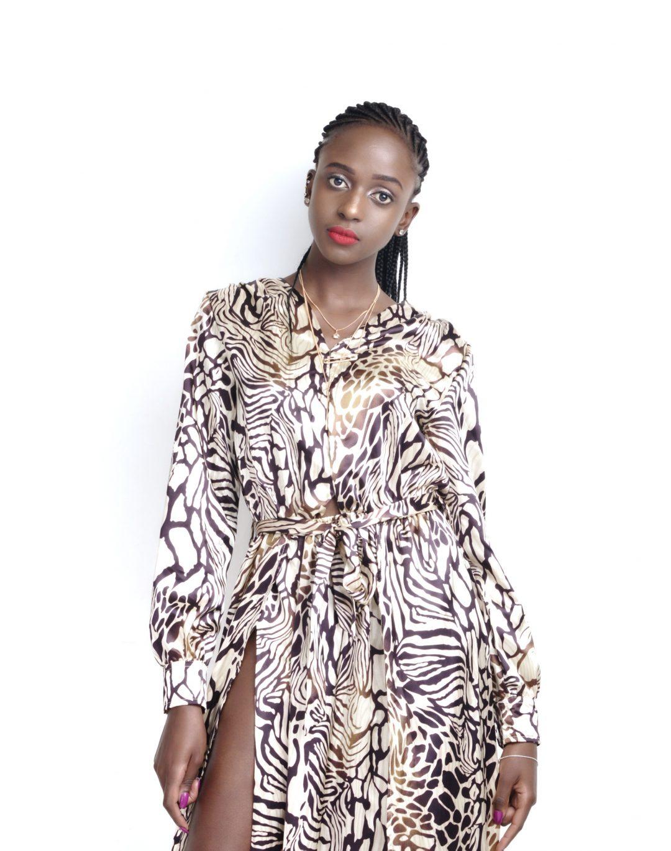 Leopard print maxi beach dress